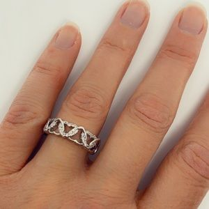 Jewelry - Diamond CZ and 925 Sterling Silver Hearts Ring